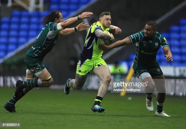 ab78dcbddb1 Josh Charnley of Sale Sharks takes on the London Irish defence during the  Aviva Premiership match