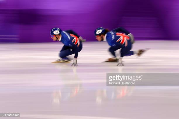 Josh Cheetham of Great Britain and Farrell Treacy of Great Britain warm up prior to Men's 1000m Qualification Short Track Speed Skating on day four...