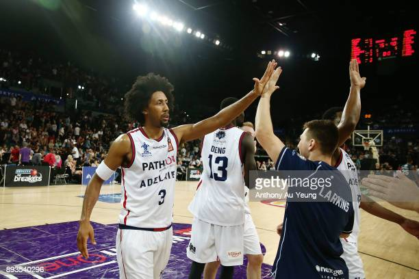 Josh Childress of the 36ers celebrates after winning the round 10 NBL match between the New Zealand Breakers and the Adelaide 36ers at Spark Arena on...