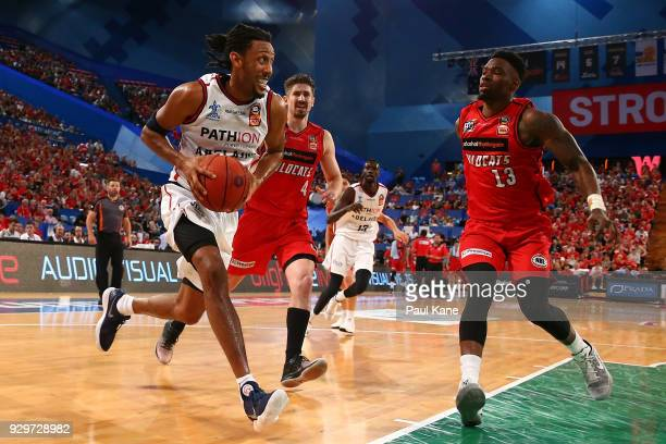 Josh Childress of the 36ers drives to the basket during game two of the NBL Semi Final series between the Adelaide 36ers and the Perth Wildcats at...