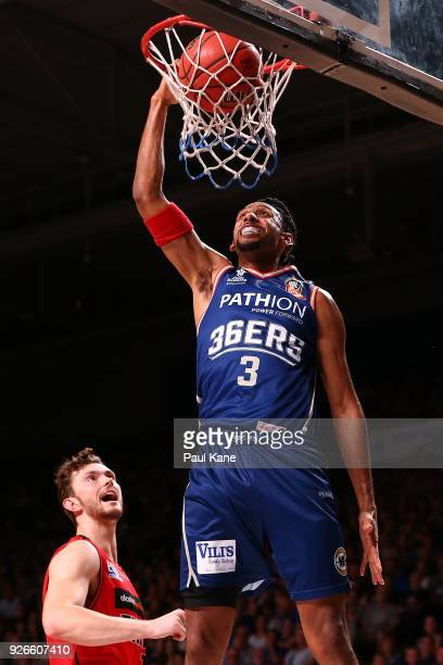 Josh Childress of the 36ers dunks the ball during game one of the Semi Final series between the Adelaide 36ers and the Perth Wildcats at Titanium...