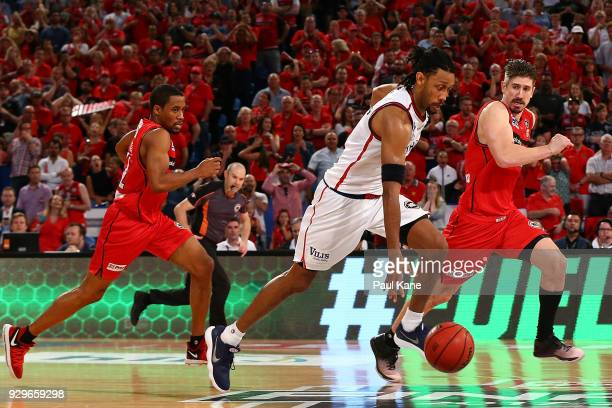Josh Childress of the 36ers makes a break during game two of the NBL Semi Final series between the Adelaide 36ers and the Perth Wildcats at Perth...