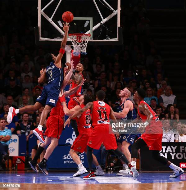 Josh Childress of the 36ers puts a shot up during game one of the Semi Final series between the Adelaide 36ers and the Perth Wildcats at Titanium...