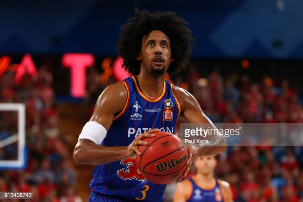 Josh Childress of the 36ers shoots a free throw during the round 17 NBL match between the Perth Wildcats and the Adelaide 36ers at Perth Arena on...