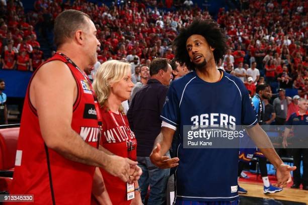 Josh Childress of the 36ers talks with spectators following a melee during the round 17 NBL match between the Perth Wildcats and the Adelaide 36ers...