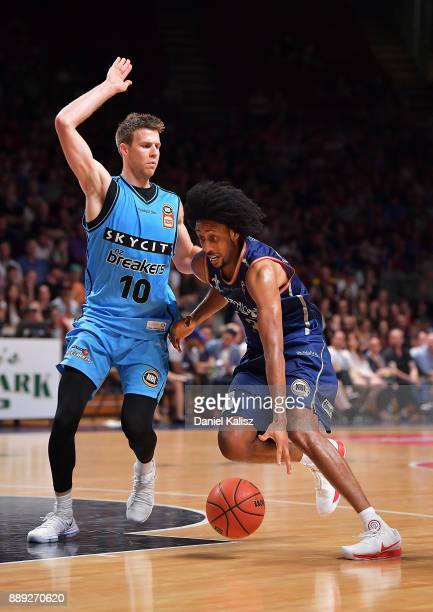 Josh Childress of the Adelaide 36ers drives to the basket during the round nine NBL match between the Adelaide 36ers and the New Zealand Breakers at...