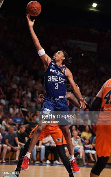 Josh Childress of the Adelaide 36ers drives to the basket during the round 14 NBL match between the Adelaide 36ers and the Cairns Taipans at Titanium...