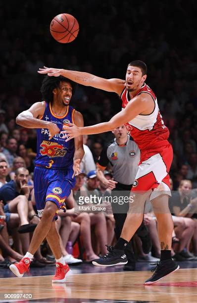 Josh Childress of the Adelaide 36ers gets athe pass away during the round 15 NBL match between the Adelaide 36ers and the Illawarra Hawks at Titanium...