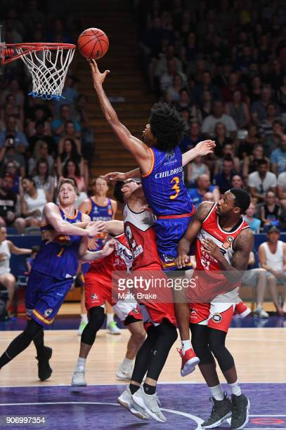 Josh Childress of the Adelaide 36ers heads for a basket during the round 15 NBL match between the Adelaide 36ers and the Illawarra Hawks at Titanium...