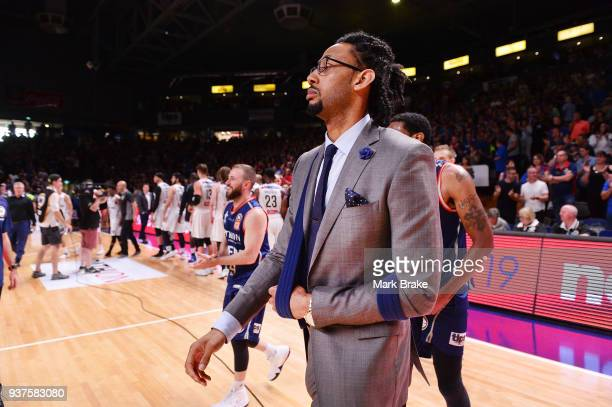 Josh Childress of the Adelaide 36ers in a sling during game four of the NBL Grand Final series between the Adelaide 36ers and Melbourne United at...