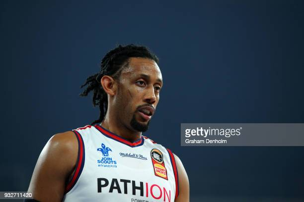 Josh Childress of the Adelaide 36ers looks on during game one of the NBL Grand Final series between Melbourne United and the Adelaide 36ers at...