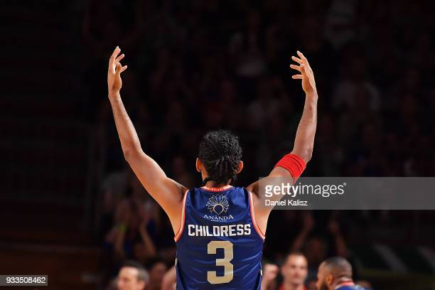 Josh Childress of the Adelaide 36ers reacts during game two of the NBL Grand Final series between the Adelaide 36ers and Melbourne United at Titanium...