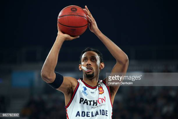 Josh Childress of the Adelaide 36ers shoots during game one of the NBL Grand Final series between Melbourne United and the Adelaide 36ers at Hisense...