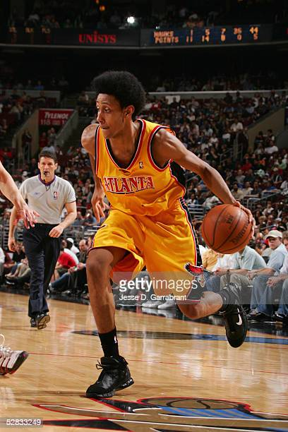 Josh Childress of the Atlanta Hawks moves the ball during the game with the Philadelphia 76ers on April 20 2005 at the Wachovia Center in...