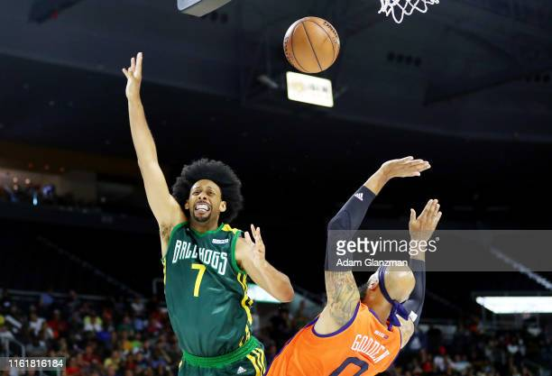Josh Childress of the Ball Hogs battles for the ball with Drew Gooden of 3's Company during week four of the BIG3 three on three basketball league at...