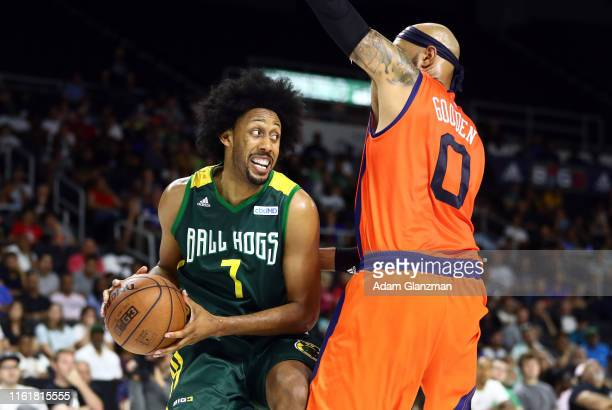 Josh Childress of the Ball Hogs handles the ball against 3's Company during week four of the BIG3 three on three basketball league at Dunkin' Donuts...