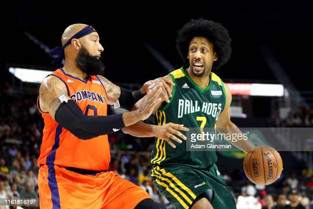 Josh Childress of the Ball Hogs handles the ball against Drew Gooden of 3's Company during week four of the BIG3 three on three basketball league at...