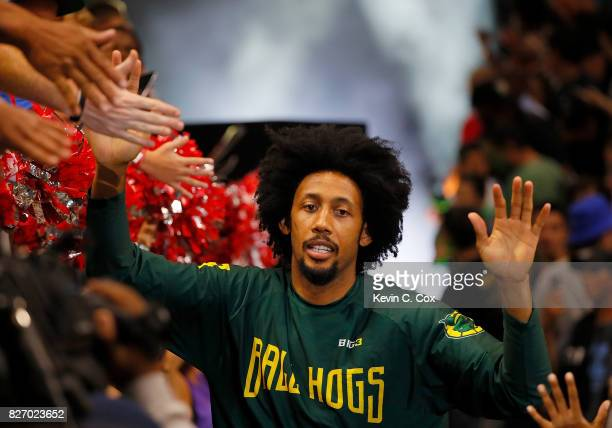 Josh Childress of the Ball Hogs is introduced during week seven of the BIG3 three on three basketball league at Rupp Arena on August 6 2017 in...