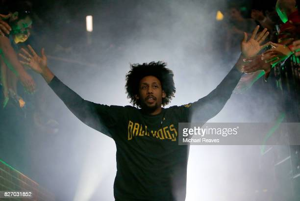 Josh Childress of the Ball Hogs is introduced to the crowd during week seven of the BIG3 three on three basketball league at Rupp Arena on August 6...