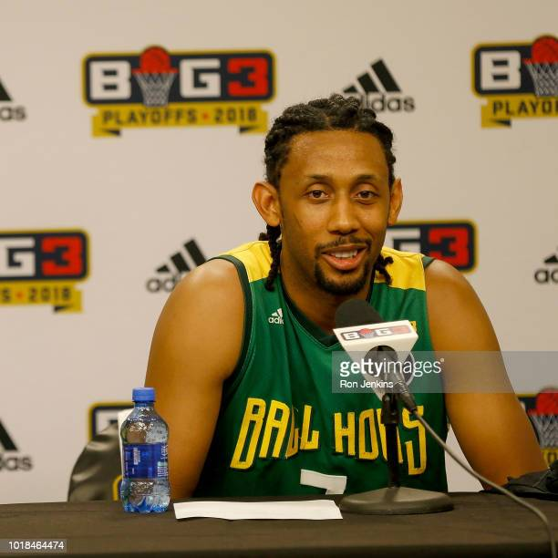 Josh Childress of the Ball Hogs speaks at a press conference during week nine of the BIG3 threeonthree basketball league at the American Airlines...