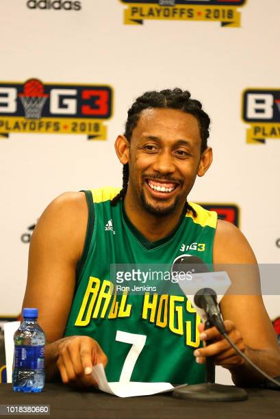 Josh Childress of the Ball Hogs visits with the media after defeating the Ghost Ballers during week nine of the BIG3 threeonthree basketball league...