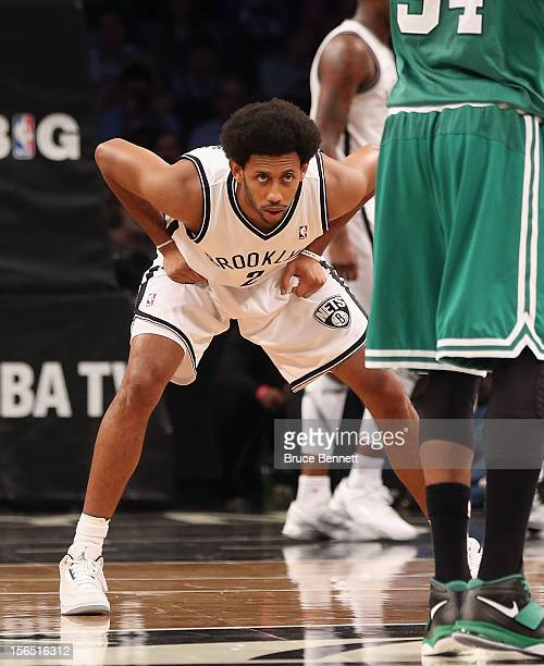 Josh Childress of the Brooklyn Nets guards against the Boston Celtics at the Barclays Center on November 15, 2012 in the Brooklyn borough of New York...