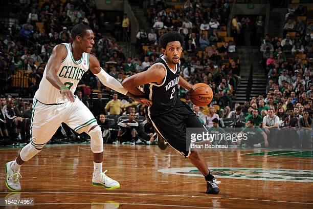 Josh Childress of the Brooklyn Nets handles the ball against Rajon Rondo of the Boston Celtics on October 16 2012 at the TD Garden in Boston...