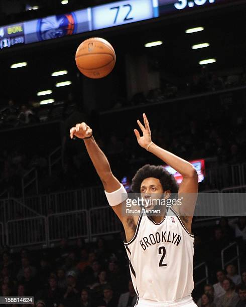 Josh Childress of the Brooklyn Nets takes the shot against the Charlotte Bobcats at the Barclays Center on December 28, 2012 in the Brooklyn borough...