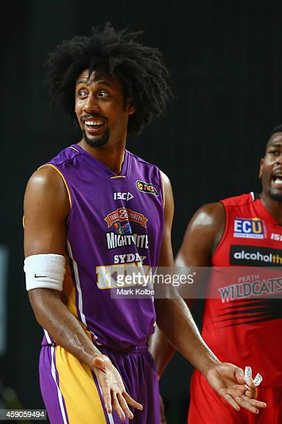 Josh Childress of the Kings appeals to the referee during the round six NBL match between the Sydney Kings and the Perth Wildcats at Sydney...