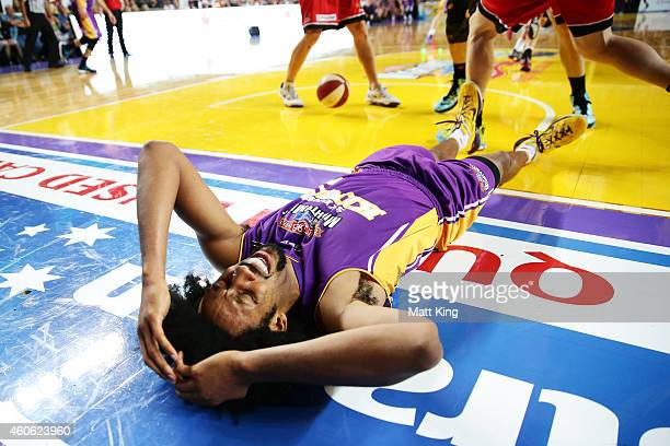 Josh Childress of the Kings falls to the ground during the round 11 NBL match between the Sydney Kings and the Perth Wildcats at Sydney Entertainment...