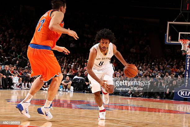Josh Childress of the New Orleans Pelicans drives against the New York Knicks on December 1 2013 at Madison Square Garden in New York City NOTE TO...