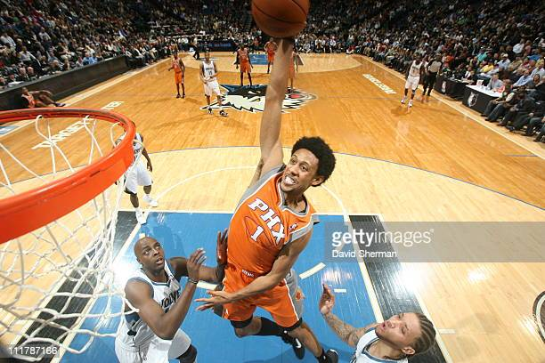 Josh Childress of the Phoenix Suns dunks against the Minnesota Timberwolves during the game on April 6 2011 at Target Center in Minneapolis Minnesota...