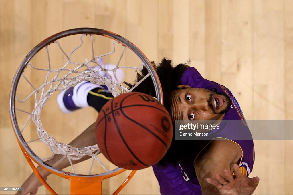 Josh Childress of the Sydney Kings eyes the rebound during the NBL pre-season match between the New Zealand Breakers and the Sydney Kings at Stadium Southland on September 11, 2015 in Invercargill, New Zealand.