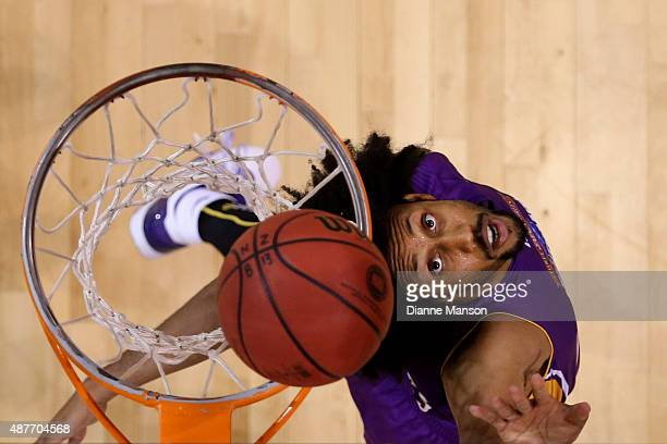 Josh Childress of the Sydney Kings eyes the rebound during the NBL pre-season match between the New Zealand Breakers and the Sydney Kings at Stadium...