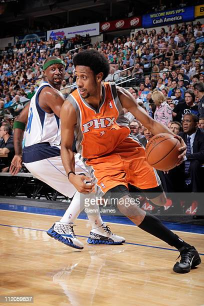 Josh Childress the Phoenix Suns drives to the basket against Jason Terry of the Dallas Mavericks during a game on April 10 2011 at the American...