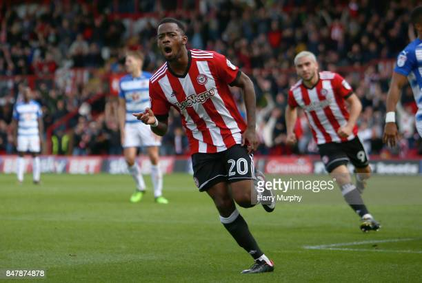 Josh Clarke of Brentford celebrates scoring his teams first goal during the Sky Bet Championship match between Brentford and Reading at Griffin Park...