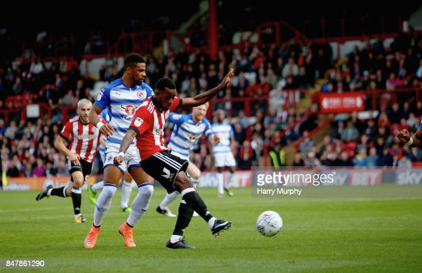 Josh Clarke of Brentford scores his teams first goal during the Sky Bet Championship match between Brentford and Reading at Griffin Park on September...