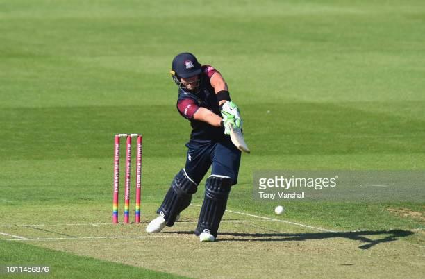 Josh Cobb of Northamptonshire Steelbacks bats during the Vitality Blast match between Northamptonshire Steelbacks and Birmingham Bears at The County...