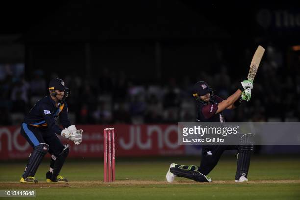 Josh Cobb of Northamptonshire Steelbacks hits out during the Vitality Blast match between Derbyshire Falcons and Northampton Steelbacks at The 3aaa...