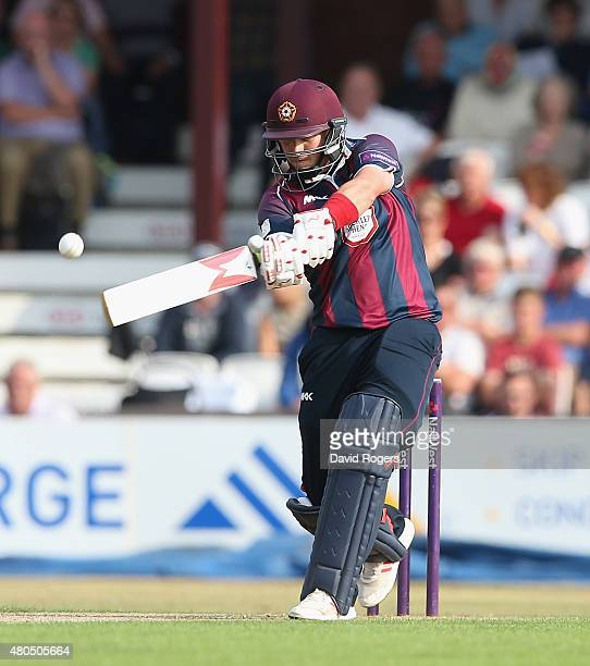 Josh Cobb of Northants hits the ball for four runs during the NatWest T20 Blast match between Northamptonshire Steelbacks and Leicestershire Foxes at...