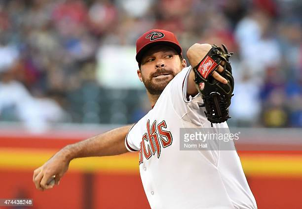 Josh Collmenter of the Arizona Diamondbacks delivers a first inning pitch against the Chicago Cubs at Chase Field on May 22 2015 in Phoenix Arizona