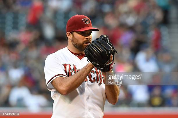 Josh Collmenter of the Arizona Diamondbacks delivers a pitch against the Chicago Cubs at Chase Field on May 22 2015 in Phoenix Arizona