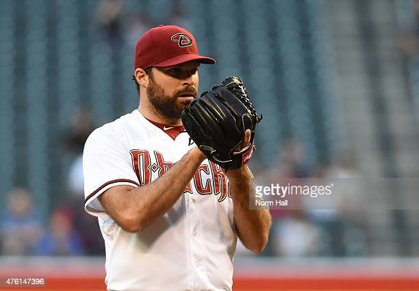 Josh Collmenter of the Arizona Diamondbacks delivers a pitch against the Atlanta Braves at Chase Field on June 2 2015 in Phoenix Arizona