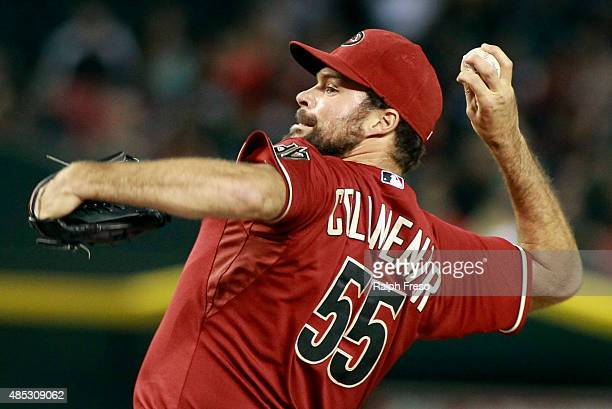 Josh Collmenter of the Arizona Diamondbacks delivers a pitch against the St Louis Cardinals during the ninth inning of a MLB game at Chase Field on...