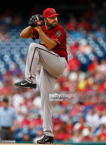 Josh Collmenter of the Arizona Diamondbacks in action during a game against the Philadelphia Phillies at Citizens Bank Park on May 17 2015 in...