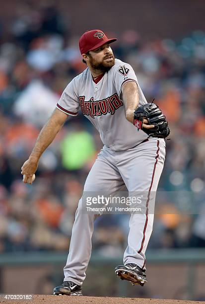 Josh Collmenter of the Arizona Diamondbacks pitches against the San Francisco Giants in the bottom of the first inning at ATT Park on April 17 2015...
