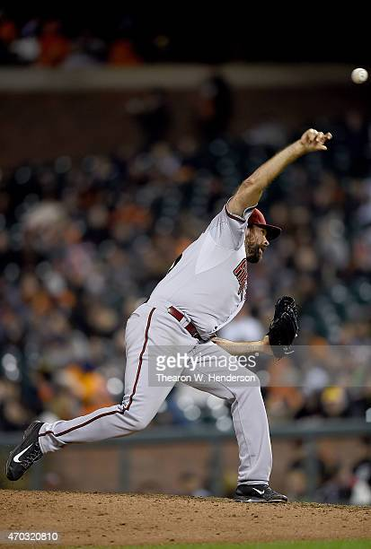 Josh Collmenter of the Arizona Diamondbacks pitches against the San Francisco Giants in the bottom of the ninth inning at ATT Park on April 17 2015...