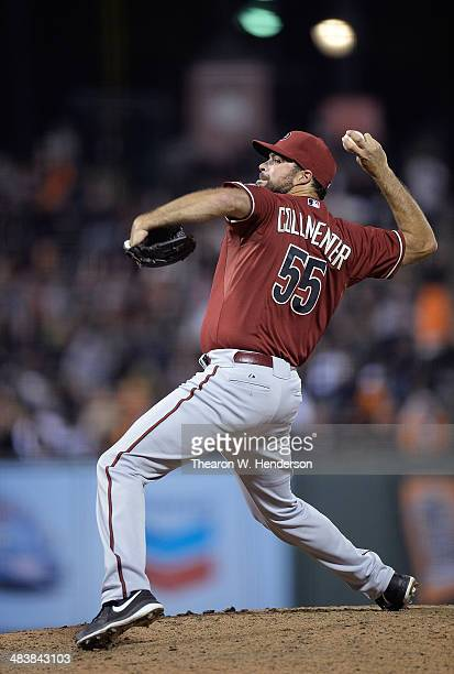 Josh Collmenter of the Arizona Diamondbacks pitches against the San Francisco Giants in the eighth inning at ATT Park on April 9 2014 in San...
