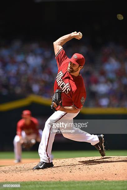 Josh Collmenter of the Arizona Diamondbacks pitches during the game against the Los Angeles Dodgers at Chase Field on Sunday April 12 2015 in Phoenix...
