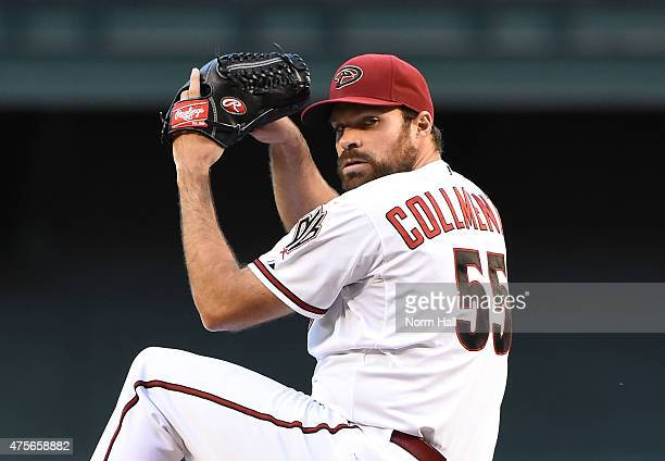 Josh Collmenter of the Arizona Diamondbacks throws a few warm up pitches prior to a game against the Atlanta Braves at Chase Field on June 2 2015 in...
